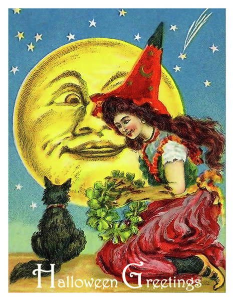 Full Moon Mixed Media - Young Witch With Black Cat On A Full Moon by Long Shot