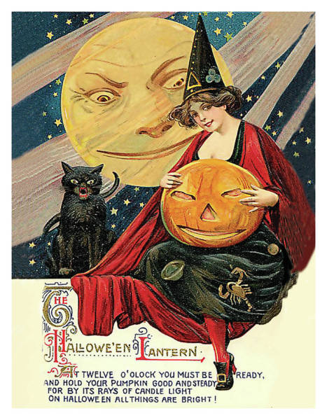 Full Moon Mixed Media - Young Witch With Halloween Lantern by Long Shot
