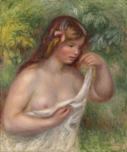 Wall Art - Painting - Young Woman Arranging Her Shirt. Female Nude, Louise Bengel by Pierre-Auguste Renoir