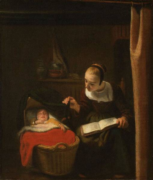 Painting - Young Woman At A Cradle  Nicolaes Maes, 1652   1662 by Artistic Panda