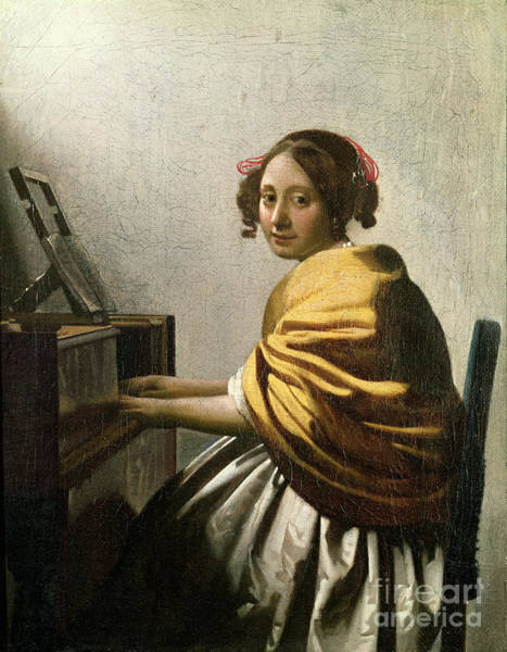 Piano Painting - Young Woman At A Virginal by Jan Vermeer