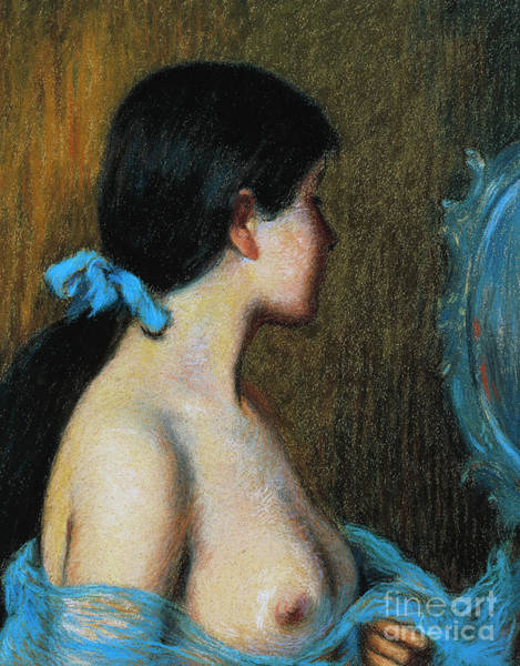 Intimate Portrait Wall Art - Pastel - Young Woman At Her Mirror by Federico Zandomeneghi