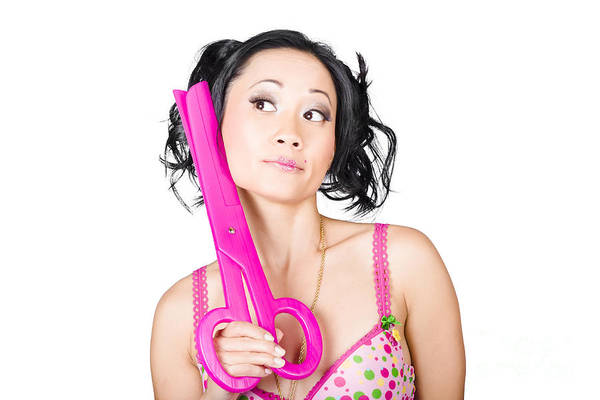 Stylists Photograph - Young Woman Barber Holding Large Pink Scissors by Jorgo Photography - Wall Art Gallery