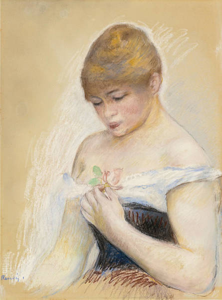 Drawing - Young Woman Holding A Flower. Portrait Of Jeanne Samary by Pierre-Auguste Renoir