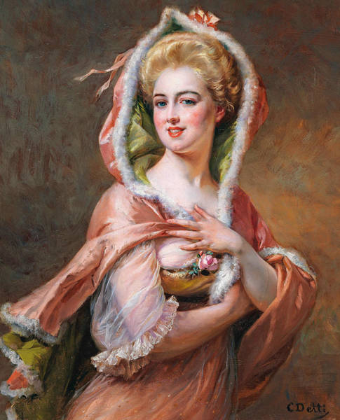 Cesare Painting - Young Woman In Cape by Cesare Detti