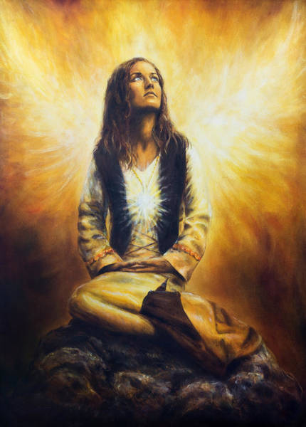 Emanate Painting - Young Woman In Historical Costume Awaking To See A Pair Of Radiant Angel Wings Spreading Behind Her by Jozef Klopacka