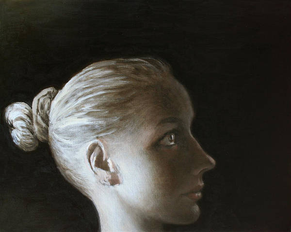 Wall Art - Painting - Young Woman In Profile 4 by Ilir Pojani