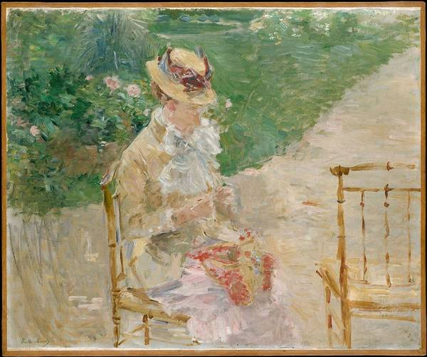 Painting - Young Woman Knitting,  Berthe Morisot, 1883 by Artistic Panda