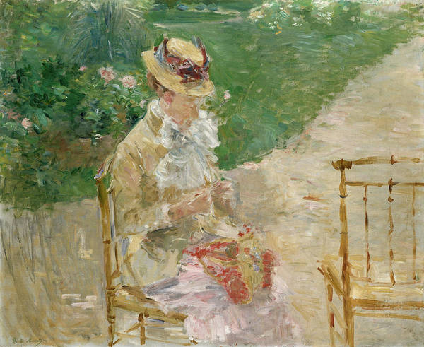 Sewer Painting - Young Woman Knitting by Berthe Morisot