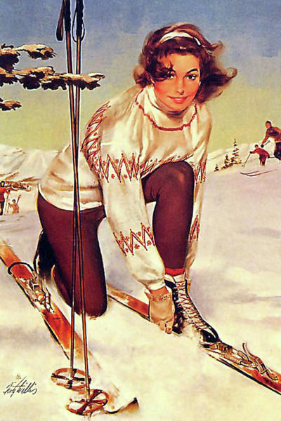 Wall Art - Painting - Young Woman On Ski by Long Shot