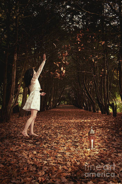 Throwing Wall Art - Photograph - Young Woman Playing With Leaves by Amanda Elwell