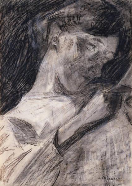 Boccioni Wall Art - Drawing - Young Woman Reading  by Umberto Boccioni