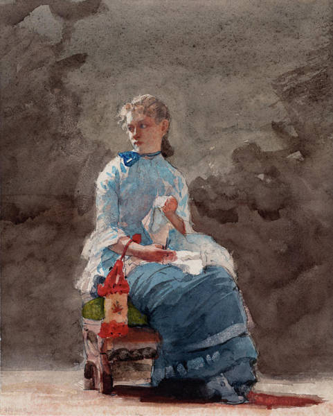 Painting -  Young Woman Sewing by Winslow Homer