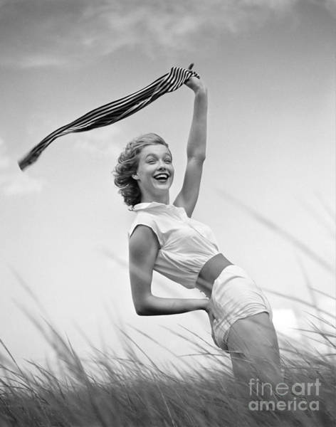 Photograph - Young Woman Waving Scarf, C.1950-60s by H Armstrong Roberts and ClassicStock