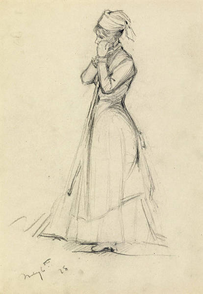 Impressionistic Drawing - Young Woman With A Broom by Dennis Miller Bunker