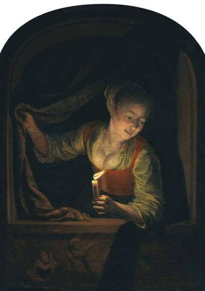 Painting - Young Woman With A Lighted Candle At A Window Ca. 1658 - 1665 By Gerrit Dou by Artistic Panda