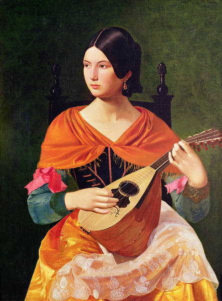 Strum Wall Art - Painting - Young Woman With A Mandolin by Vekoslav Karas