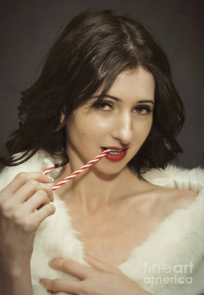 Wall Art - Photograph - Young Woman With Christmas Candy Cane by Amanda Elwell