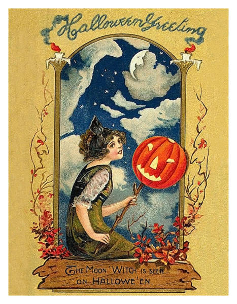 Night Mixed Media - Young Woman With Jack O' Lantern by Long Shot