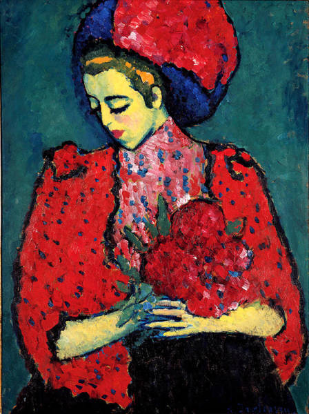 Wall Art - Painting - Young Woman With Peonies by Alex von Jawlensky