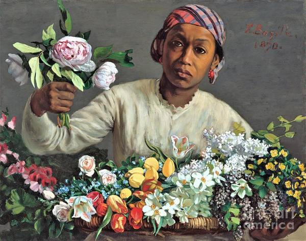 Wall Art - Painting - Young Woman With Peonies by Pg Reproductions
