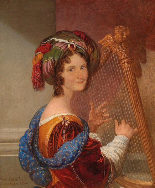 Wall Art - Painting - Young Woman With Turban Playing Music by Ferdinando Cavalleri