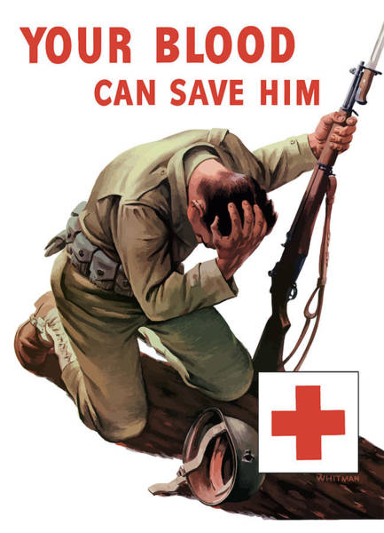 Wounded Soldier Painting - Your Blood Can Save Him - Ww2 by War Is Hell Store