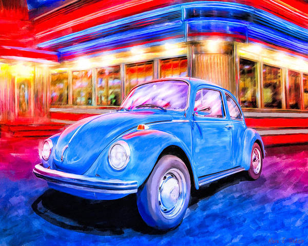 Mixed Media - Your Chariot Awaits - Classic Vw Beetle by Mark Tisdale