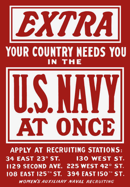 Wwii Painting - Your Country Needs You In The Us Navy by War Is Hell Store