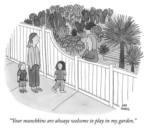 Welcome Drawing - Your Munchkins Are Always Welcome To Play In My Garden by Amy Hwang