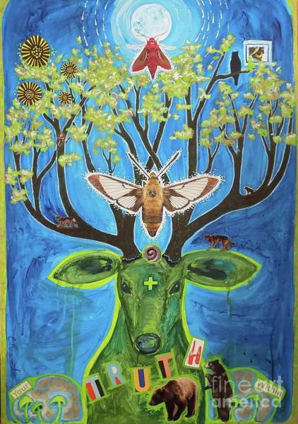 Deer Mixed Media - Your Truth Within by Cindy Ruprecht