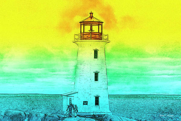 Halifax Wall Art - Mixed Media - You're My Beacon Peggy's Cove Lighthouse by Betsy Knapp