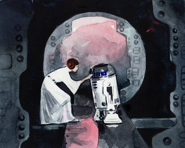 Wall Art - Painting - You're My Only Hope Princess Leia And R2d2 by Laura Row