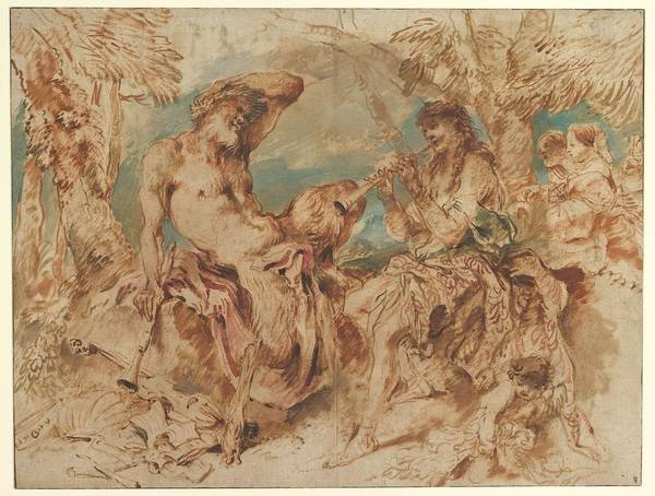 Painting - Youth Playing A Pipe For A Satyr , Giovanni Benedetto Castiglione by Artistic Panda