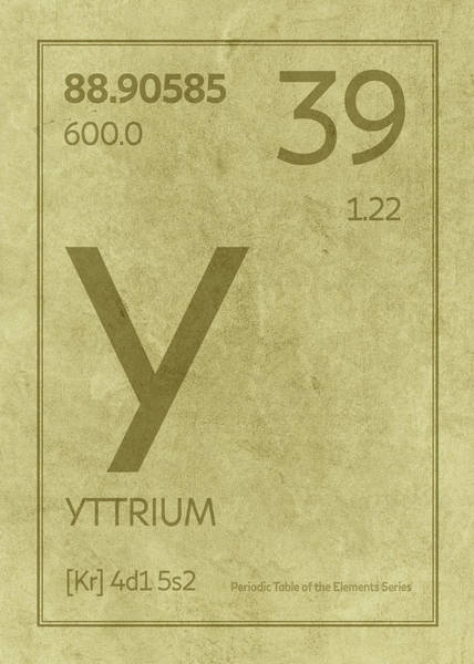 Elements Mixed Media - Yttrium Element Symbol Periodic Table Series 039 by Design Turnpike