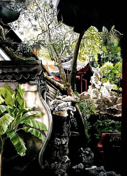 Painting - Yu Garden In Shanghai by Alfred Ng