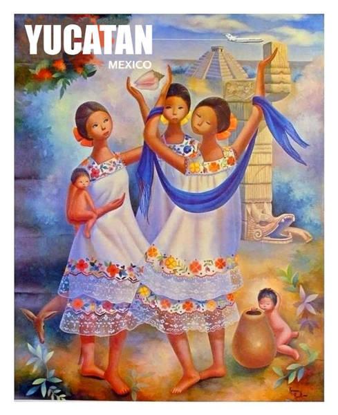 Yucatan Wall Art - Painting - Yucatan, Mexico, Traditional Art, Vintage Travel Poster by Long Shot