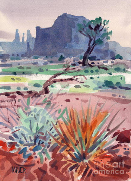 Butte Painting - Yucca And Buttes by Donald Maier