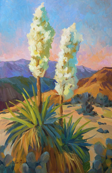 Desert Scene Painting - Yuccas by Diane McClary