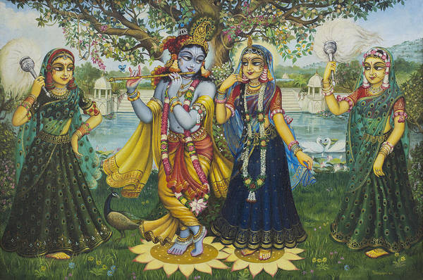 Wall Art - Painting - Yugal Kishor. Radha Krishna by Vrindavan Das