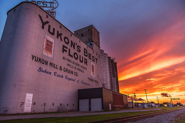 Grain Elevator Photograph - Yukon's Best - Flour Mill At Sunset In Yukon Oklahoma by Southern Plains Photography