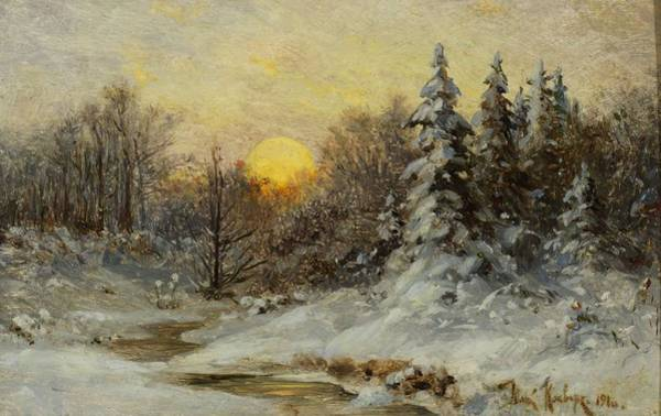 Painting - Yuliy Yulevich Klever Russian 1850  1924 Wooded Winter Sunset by Artistic Panda