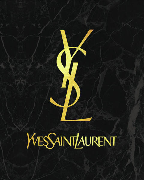 Wall Art - Digital Art - Yves Saint Laurent - Ysl - Black And Gold - Lifestyle And Fashion by TUSCAN Afternoon