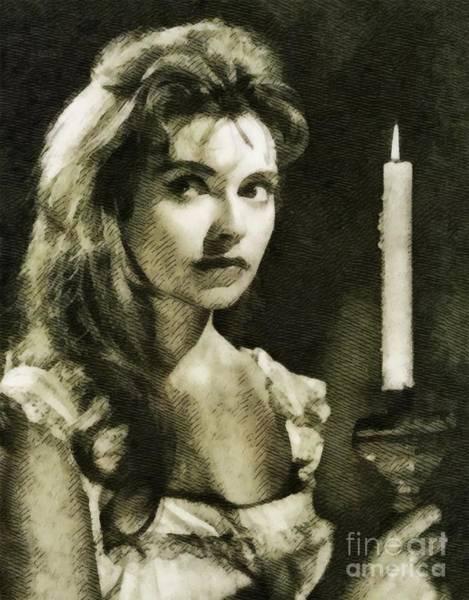 Wall Art - Painting - Yvonne Monlaur, Vintage Actress by John Springfield