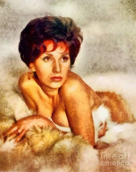 Horror Film Painting - Yvonne Romain, Vintage Actress by John Springfield