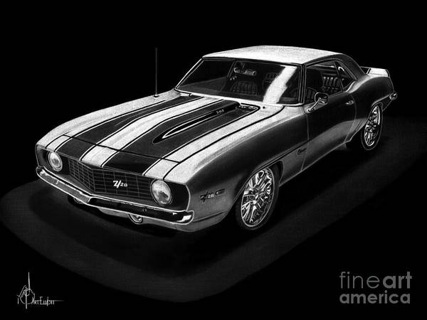 Chevrolet Drawing - Z 28 Camaro by Murphy Elliott