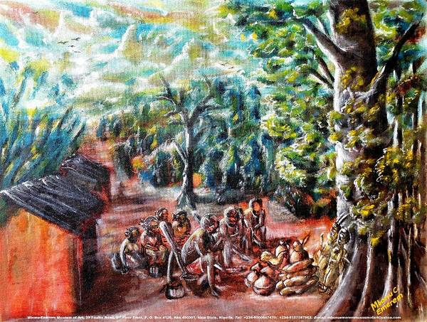 Recycling Painting - Thanks-giving In A Sacred Shrine by Mbonu Emerem