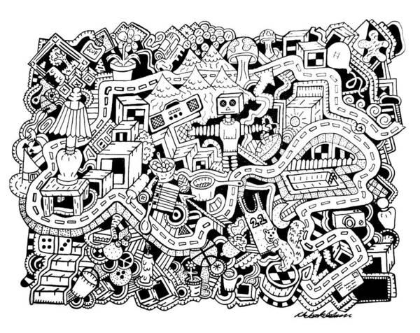 Wall Art - Drawing - Z Squirrel by Chelsea Geldean
