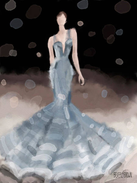 Painting - Zac Posen Grey Dress Fashion Illustration by Beverly Brown
