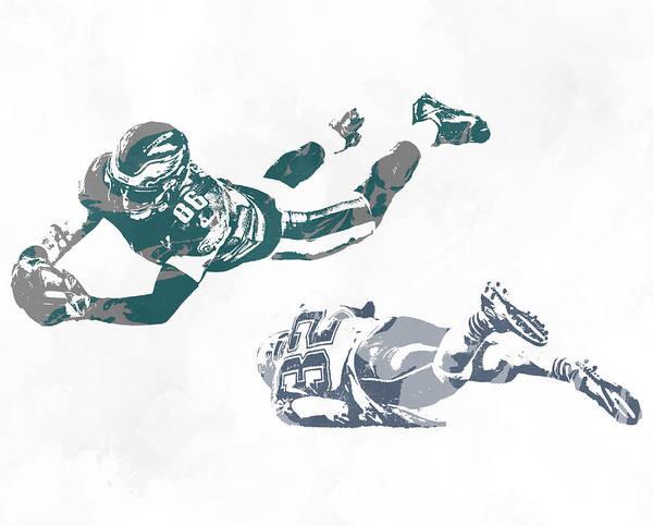 Wall Art - Mixed Media - Zach Ertz Philadelphia Eagles Pixel Art 10 by Joe Hamilton